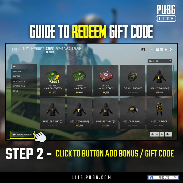 Pubg Pc Lite Redeem The Code In Game To Receive A Total Of 8