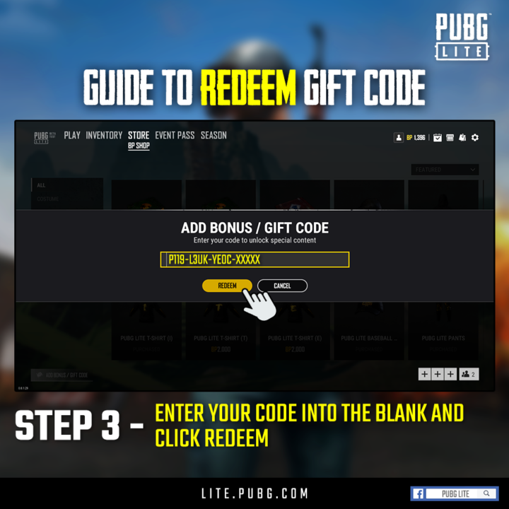 PUBG PC LITE Redeem the code in-game to receive a total of 8